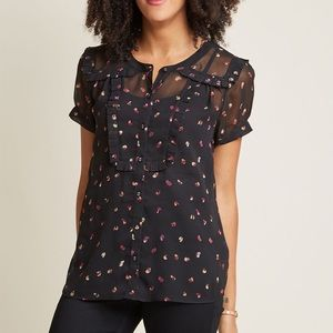 ModCloth sheer button up blouse with ruffles